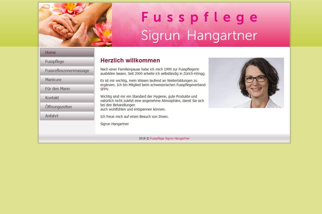 Referenz Webdesign Fusspflege Hangartner
